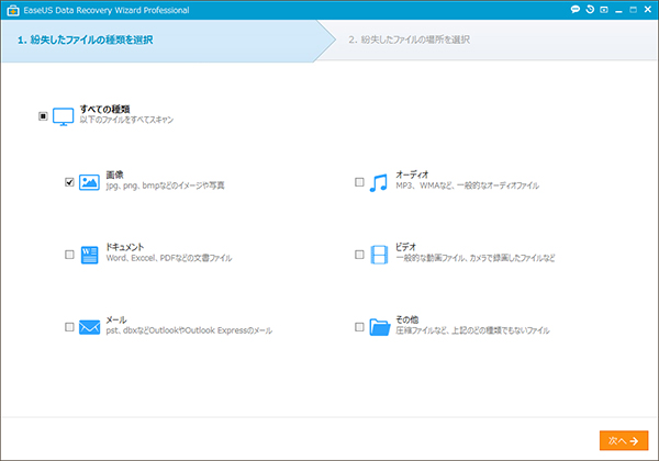 Data Recovery Wizard ステップ1