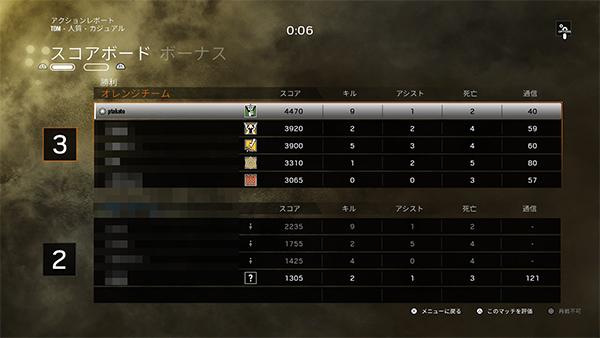 R6S マッチ結果